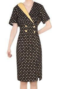 Modna sukienka czarna w żółte kropy