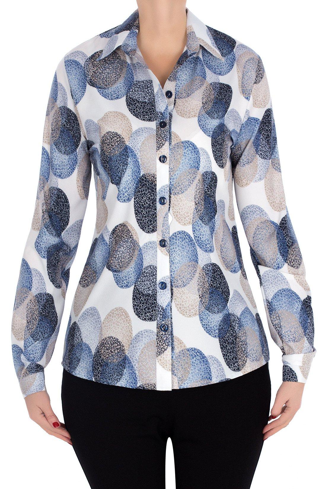 a1b70eb51d2e9f Bluzka koszulowa 2994 ecru w geometryczne wzory | sklep internetowy ...