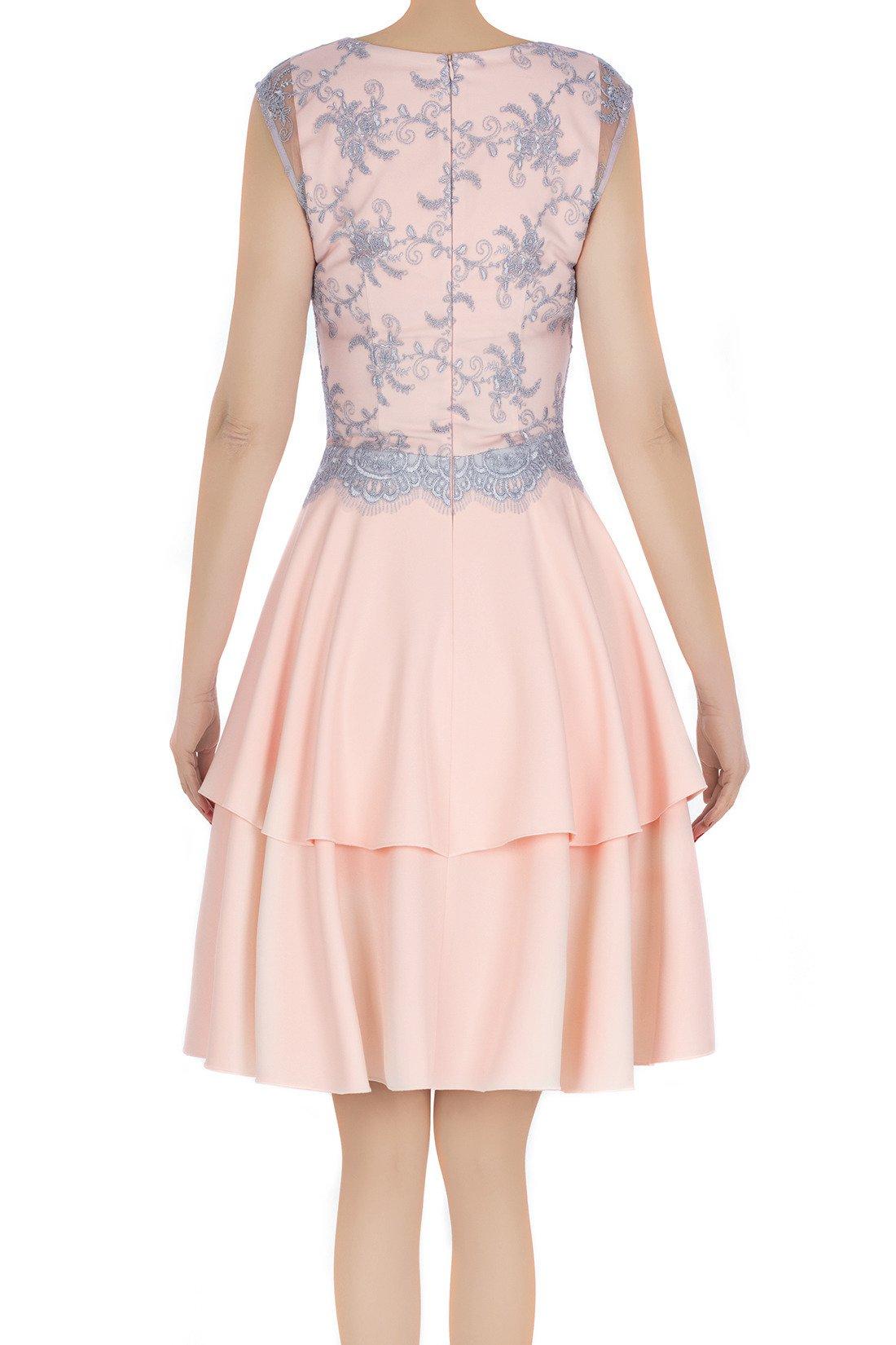 5140335353 Elegancka sukienka damska Feero pudrowy róż z szarą koronką 3227 Kliknij