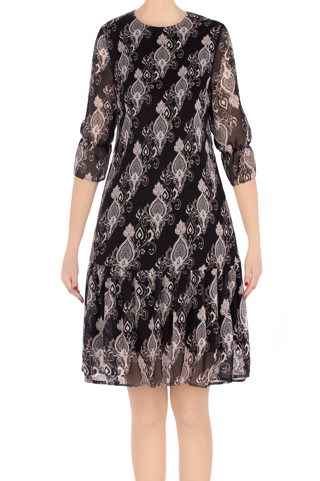 01cbed32de Luźna sukienka damska Marisa czarna w azteckie wzory 3206