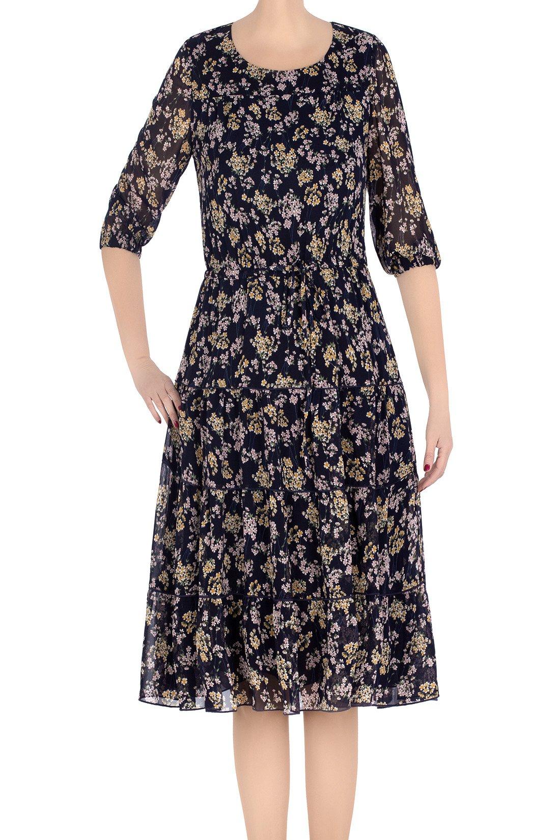 c96d052d1d Modna sukienka damska Malika granatowa w żółto-różowe kwiaty 3318 ...