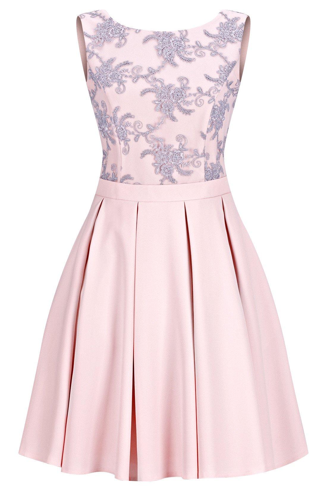 13f4756134 Sukienka Koton I młodzieżowa rozkloszowana różowa z szarą koronką ...
