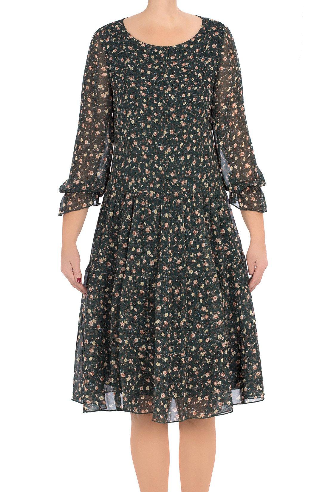 40e77dee45 Zwiewna sukienka Pola zielona w małe kwiaty