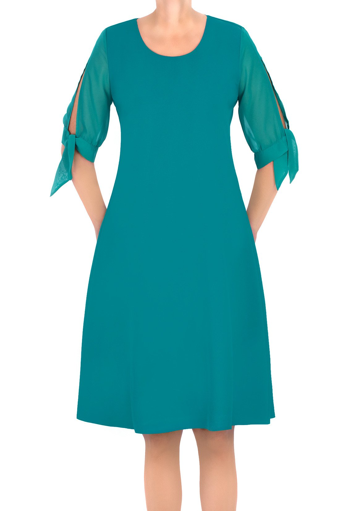 5358cc83 Zwiewna sukienka Żan-Mar trapezowa morska zieleń