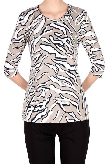 Bluzka Aga beżowa w białe wzory