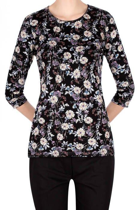 Bluzka Aga czarna w beżowo-różowe kwiaty