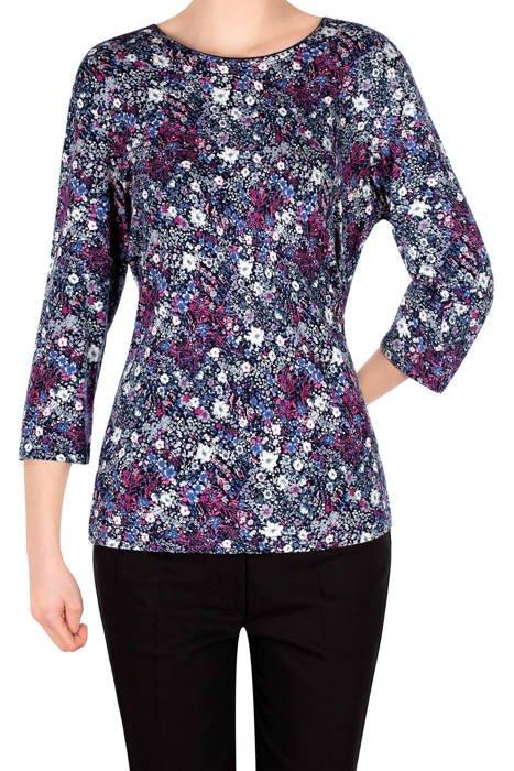 Bluzka Aga granatowa w dobne kolorowe kwiaty