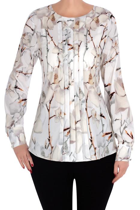 Bluzka Madora jasna w kwiaty z plisą 2991