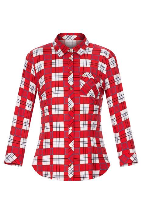 Bluzka damska czerwono-biała w kratkę z kołnierzykiem