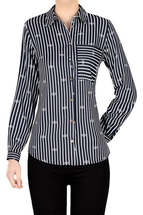 Bluzka damska granatowa w białe paski i wzór