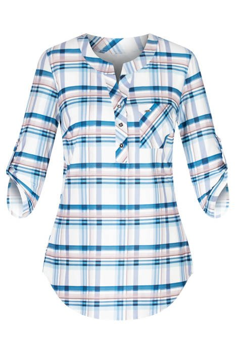 Bluzka damska niebiesko-beżowa krata