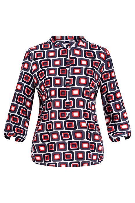 Bluzka damska wizytowa granatowo-szaro-czerwona