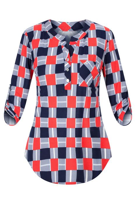 Codzienna bluzka damska granatowo-czerwona w kratkę