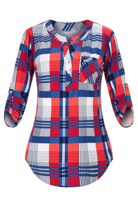 Codzienna bluzka damska szaro-czerwono-granatowa w kratkę