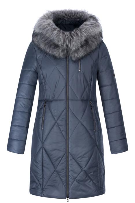 Długa kurtka zimowa AnMar jeansowa z kapturem i paskiem, futerkiem