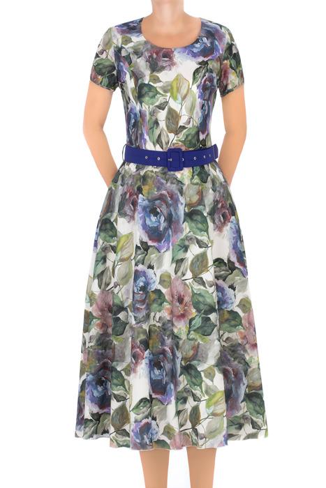 Długa sukienka Alika ecru w kwiaty z niebieskim paskiem 3264