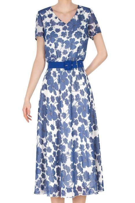 Długa sukienka Alika ecru w niebieskie kwiaty