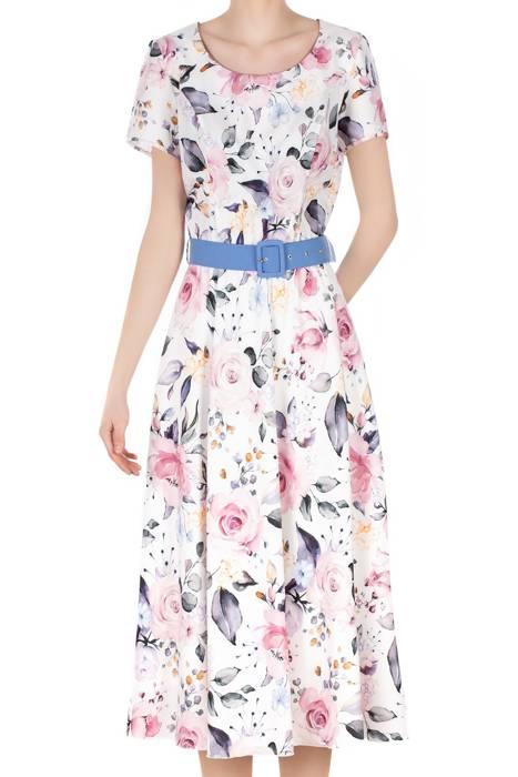 Długa sukienka Alika ecru w pastelowe kwiaty