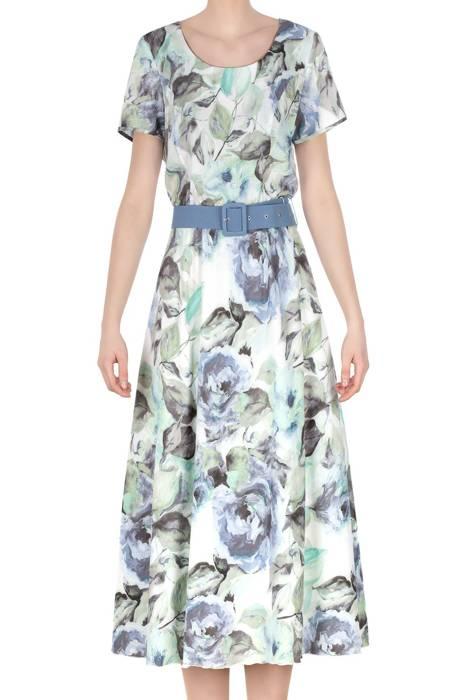 Długa sukienka Alika niebiesko-zielone kwiaty