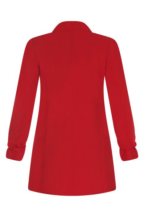 Długi czerwony żakiet z drapowanymi rękawami