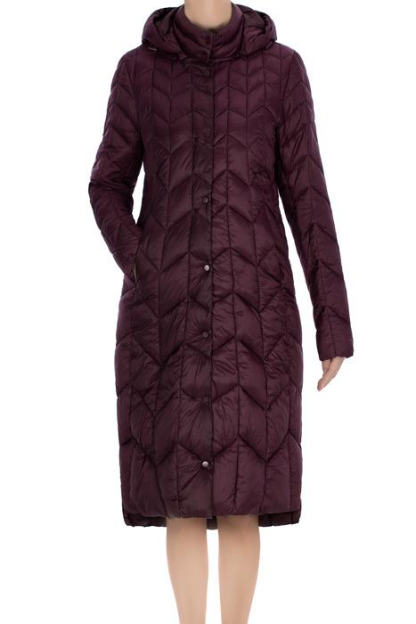 Długi pikowany płaszcz damski bordowy 3476 z kapturem