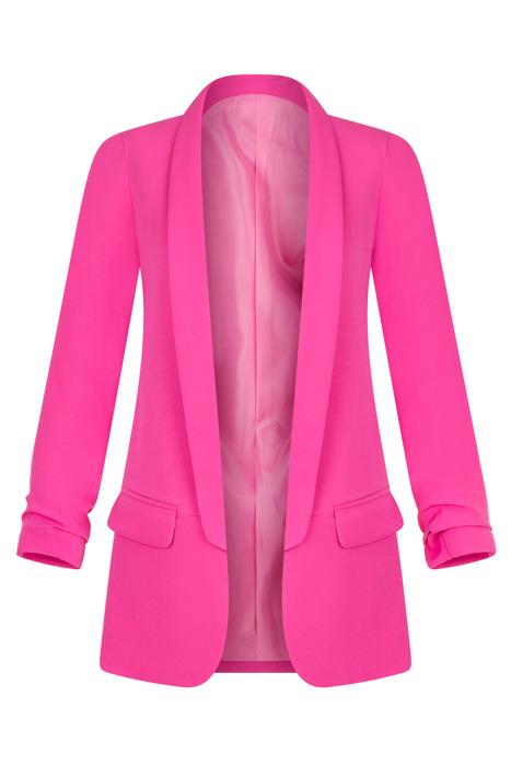 Długi różowy żakiet z drapowanymi rękawami