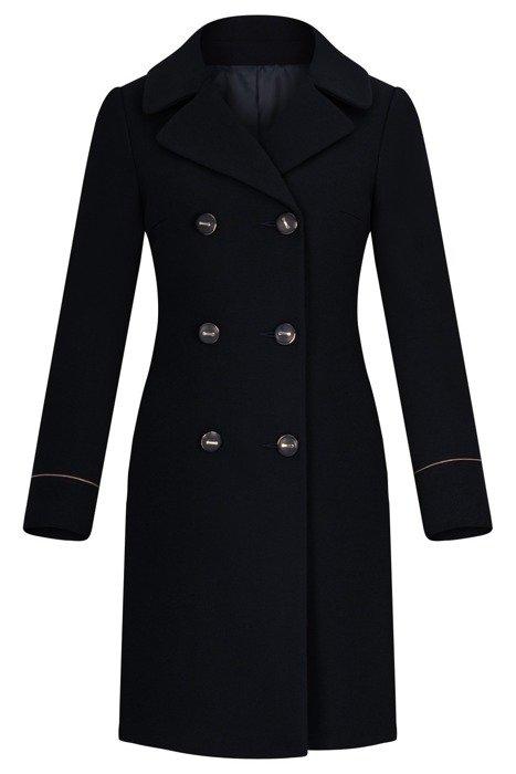 Dwurzędowy płaszcz damski zimowy Gabi granat