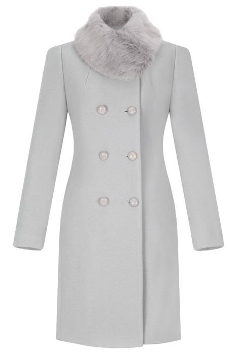 Dwurzędowy płaszcz damski zimowy Sonia jasny szary z wełną