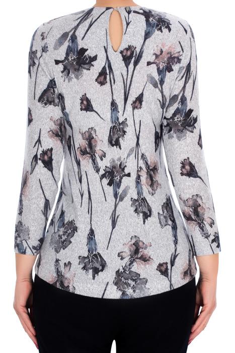Dzianinowa bluzka damska 2793 szara w kwiaty