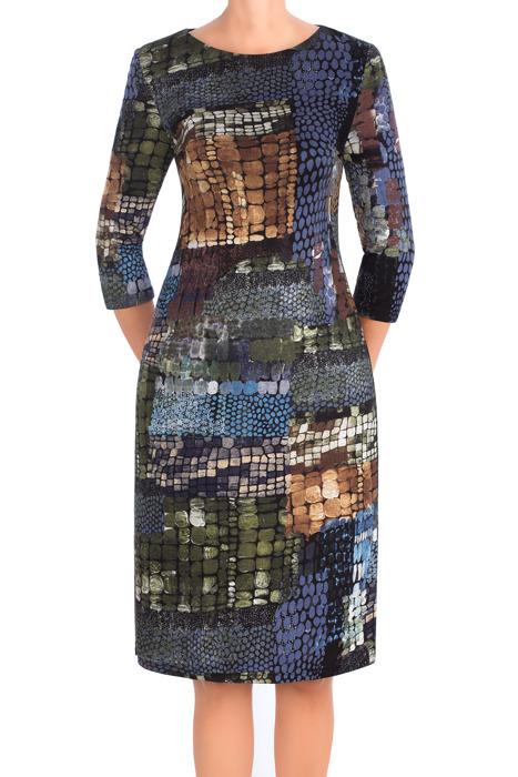 Dzianinowa sukienka Beata wielokolorowa geometryczny wzór