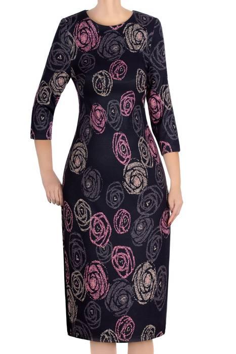 Dzianinowa sukienka Color granat w róże