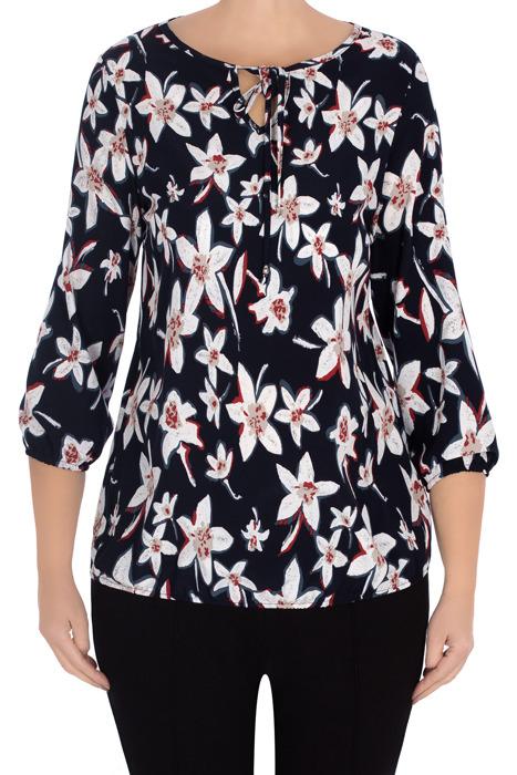 Elegancka bluzka 2955 granatowa w kwiaty wiązany dekolt