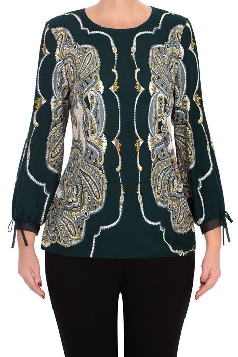 Elegancka bluzka damska 2823 zielona we wzory