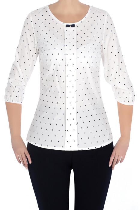 Elegancka bluzka damska 3056 kremowa w kropki