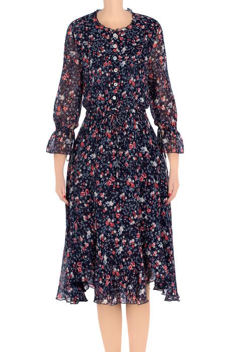 Elegancka sukienka damska Aluna granatowa w malinowe kwiatki 3211