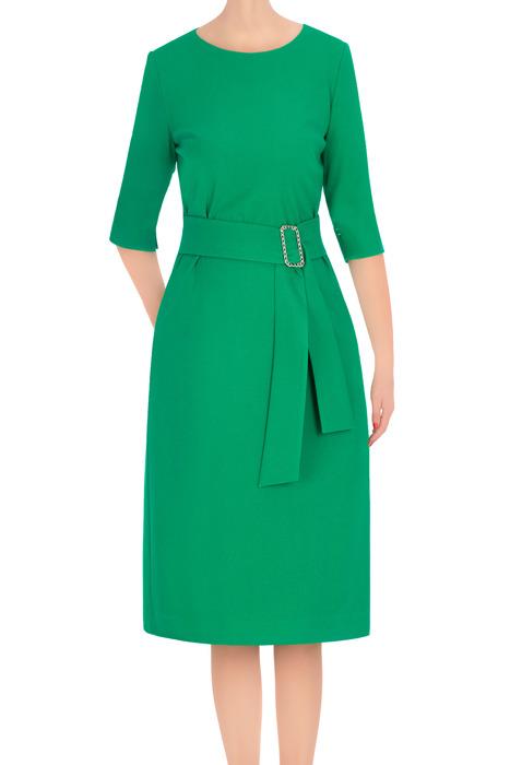 Elegancka sukienka damska Dagon 2762 zielona z paskiem