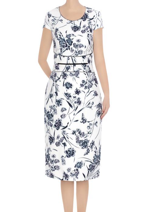 Elegancka sukienka damska biała w granatowe kwiaty 3387