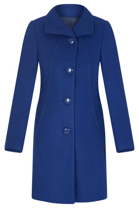 Elegancki płaszcz damski Moris Capri chabrowy na guziki