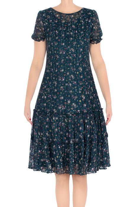 Klasyczna sukienka damska Carla morska w wielokolorowe kwiatki 3220