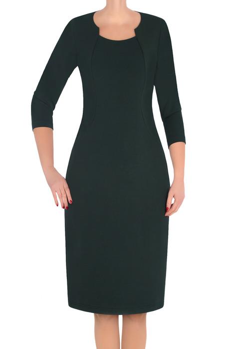 Klasyczna sukienka damska Lotos Ela butelkowa zieleń