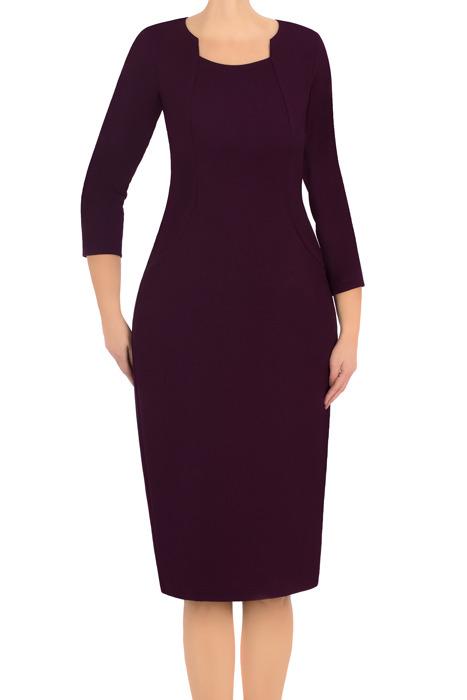 Klasyczna sukienka damska Lotos Ela fioletowa