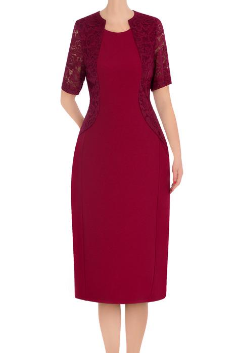 Klasyczna sukienka damska Zosia bordowa 3378