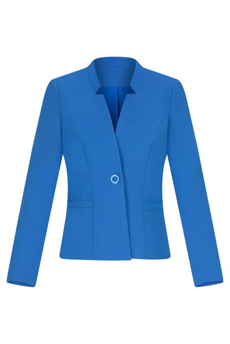 Wizytowy żakiet damski niebieski ze stójką 3183