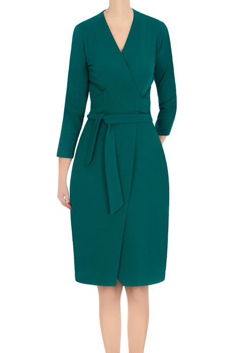 Koktajlowa sukienka damska Modesta butelkowa zieleń z wiązaniem 3364