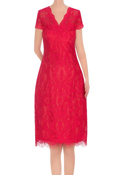 Koronkowa sukienka damska malinowa 3382