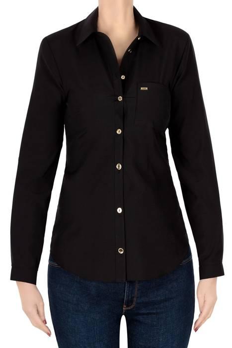 Koszula 4290 czarna ze złotymi guzikami