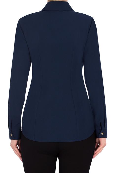 Koszulowa bluzka damska 2790 granatowa kołnierzyk i mankiet