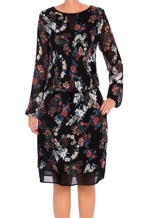 Luźna sukienka J.S.A. Sonia I czarna w kwiaty