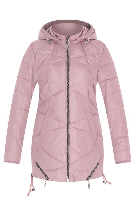 Pikowana różowa kurtka z kapturem 3164