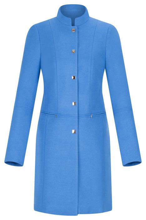 Płaszcz Ania niebieski na zatrzaski ze stójką